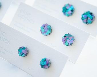 Star studs   Peacock glitter   Laser cut acrylic earring   Choose size