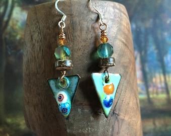 Vitreous Enamel Copper Triangle Dangle Earrings, Czech Crystals, Boho, Organic, Unique