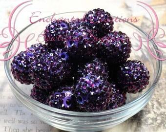 20mm Eggplant Purple Rhinestone Beads Qty 8, Chunky Bead, Bubblegum Bead, Gumball Bead, Chunky Jewelry Bead, DIY Jewelry Bead, Textured Bead