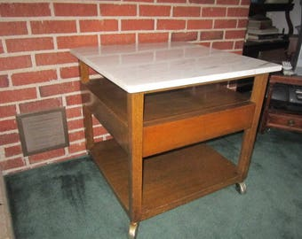 PICK UP ONLY Vintage Harvey Probber Mid Century Modern One Drawer Side Table with White Marble Top