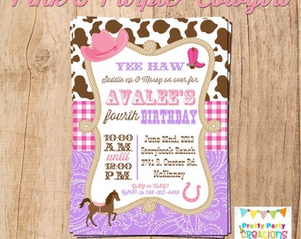 PINK and PURPLE COWGIRL invitation - You Print