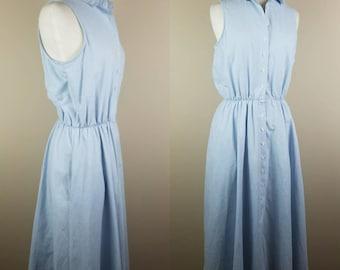 1980s sleeveless chambray dress - vintage denim dress - medium vintage dress - 1980s sun dress