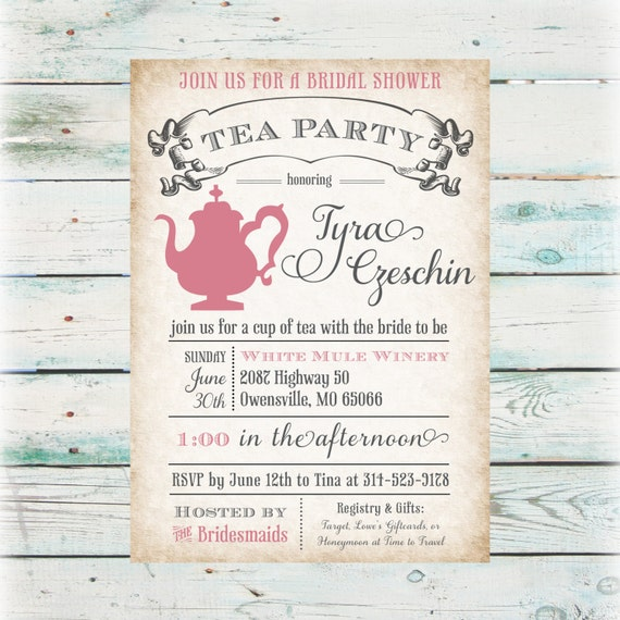 Tea party bridal shower invitation diy digital file like this item filmwisefo Images