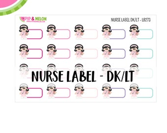 Nurse Label Sticker| Dark Hair/Light Skintone | 20 Kiss-Cut Stickers | Medical, Work Schedule, Appointment, Treatment | LB273
