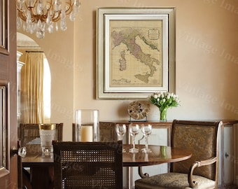 """Old map of Italy (1794) Italian map in 5 sizes up to 43""""x55"""" Restoration decorator Style Vintage map of Italy, Antique Home Decor Wall map"""