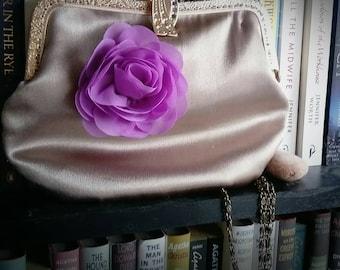 Handmade gold purse with purple flower
