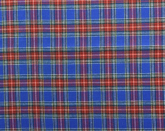 Blue Plaid Fabric, Cotton Blend, Blue Fabric, Plaid Material, Wide Fabric, Red and Blue, Vintage Plaid - 1 Yard - MSF2511