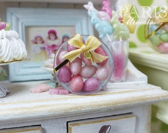 Shades of Pink Candy Easter Eggs in Clear Round Gift Box - Miniature Food in 12th Scale