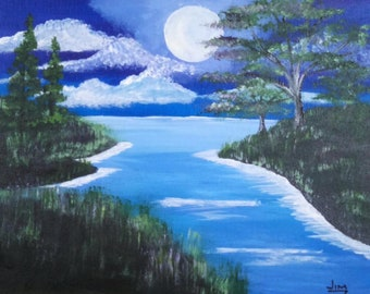 Moonlight night lake landscape