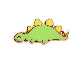 Sleepy Stegosaurus Enamel Pin (dinosaur pin hard enamel pin lapel pin badge dino enamel jewelry cute jewelry cloisonne backpack pin brooch)