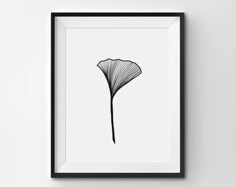 Ginkgo Leaf Illustration, Minimalist Ginkgo Wall Art, Modern Art Print, Black and White Ginkgo Art, Printable Art, Modern Art Print