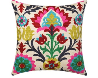 Waverly Santa Maria Desert Flower Pillow Cover, Decorative Throw Pillow Cover, Red Pink Black Floral Pillow Cover 18x18 20x20 22x22 24x24