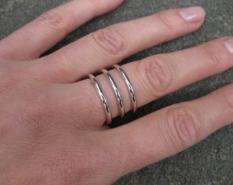 Sterling Silver - Three Wire Spaced Ring.