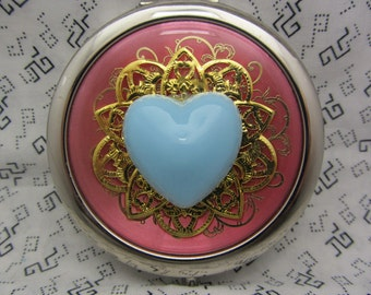 Compact Mirror My Blue Heart Bridesmaid Gift Comes With  Protective Pouch