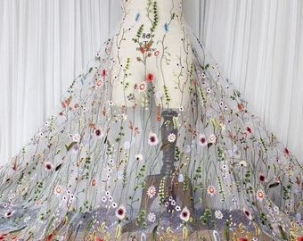 Floral Embroidery Lace Fabric/Lace Wedding Dress with Embroidery/Boho Wedding Dress/Vintage Dress/Evening Dress Fabric/Boho Dress/EFL-54