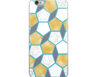 Gold Teal and Marble Geometric Pattern iPhone Case 6/6s/7/7s/8/8s/X