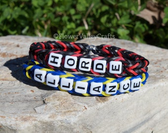World of Warcraft Rubber Band Bracelet. Horde. Alliance. Gamer. Custom Colors Letters. Personalized. Kids Gift. Mother's Day. Rainbow Loom