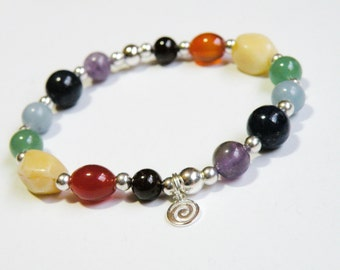 Silver Chakra Bracelet with Natural Gemstones stretch bracelet *FREE SHIPPING USA* 314.3