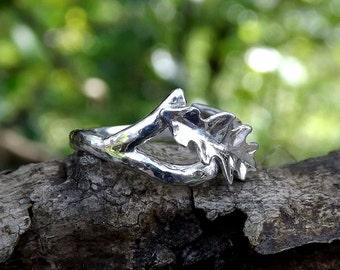 Sterling Silver Oak Leaf Ring, Organic, Wood texture Ring, Adjustable