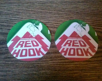 Redhook Long Hammer IPA upcycled coasters, large pair