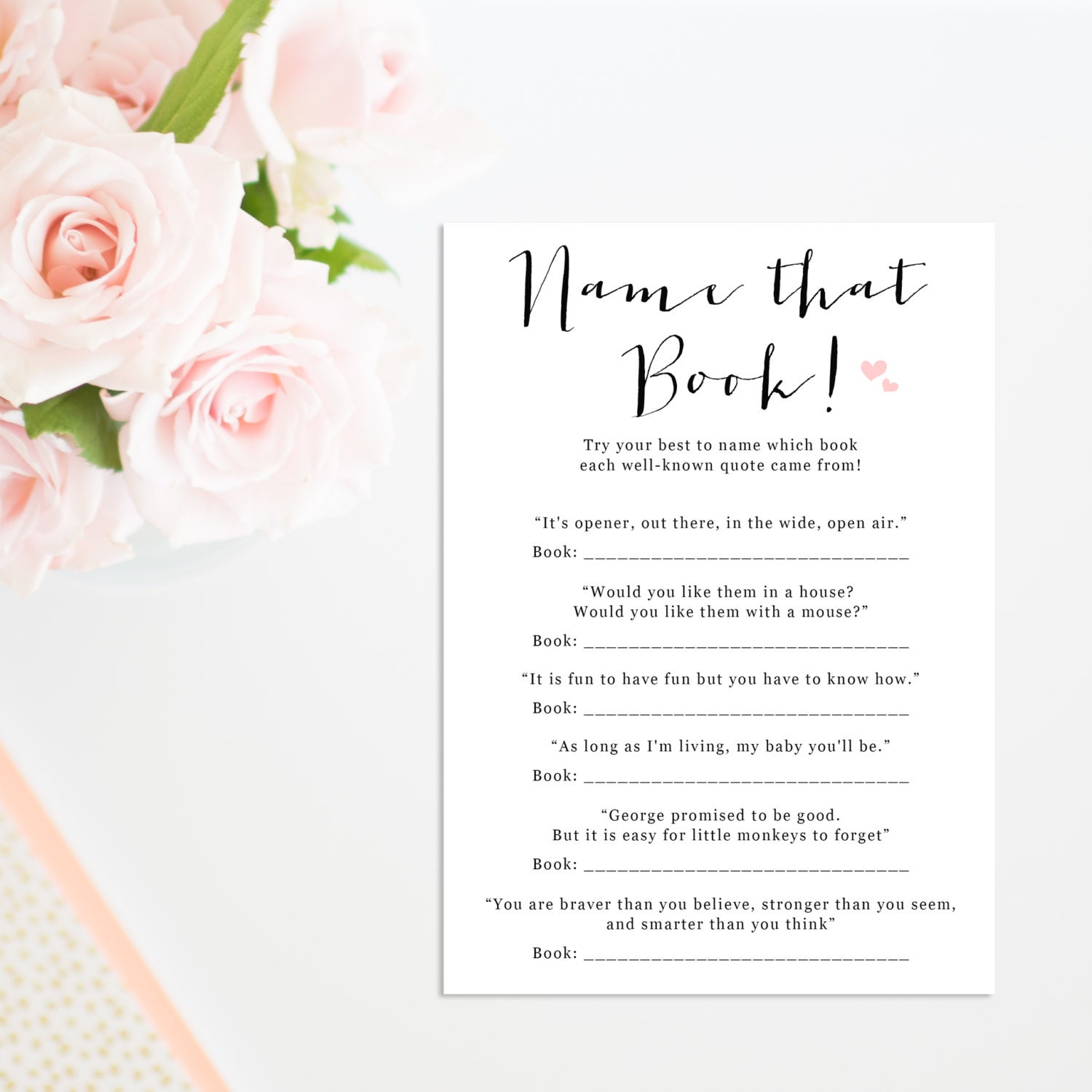 Quotes For Baby Shower Printable Children's Book Quiz Printable Baby Shower
