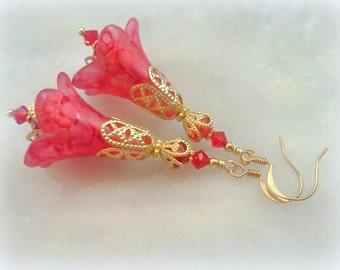 Hand Painted Earrings, Red Earrings, Bridal Earrings, Lucite Earrings, Victorian Earrings, Vintage Style Earrings, Flower Earrings, Floral
