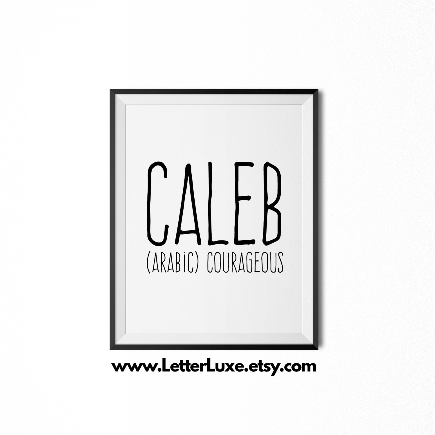 Caleb Name Meaning Art Printable Baby Shower Gift Nursery