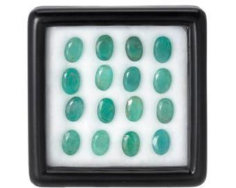7.0 Carats 6x4mm Natural Emerald Lot. Green Color And Oval Cut.