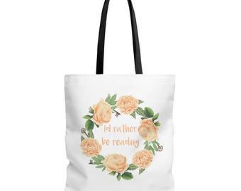 Book Tote Bag - Book Canvas Bag - Reader Bag - Reader Gift - Bookworm Gift - Gift for Book Lover - Teacher Gift - I'd Rather Be Reading Gift