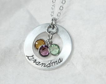 Grandma Family Necklace, Birthstone Necklace, Grandchildren Pendant, Birth Stone Jewelry, Grandmother Present