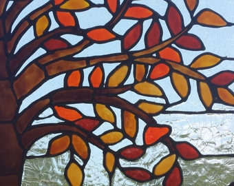 Autumn Tree Stained Glass Window