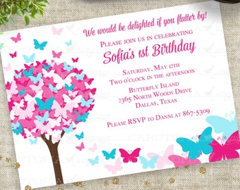 Pink and Blue Butterfly Birthday Party Invitations Personalized Custom Digital Printable File with Professional Printing Option