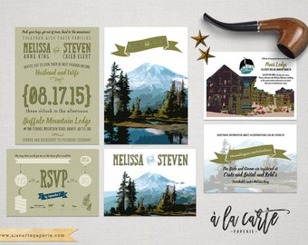 Rustic Mountain Wedding Invitation RSVP illustrated wedding invitation rustic Colorado Montana Oregon Virginia Rockies  DEPOSIT Payment