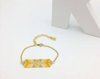 AYASHA bracelet hand woven, white and golden yellow
