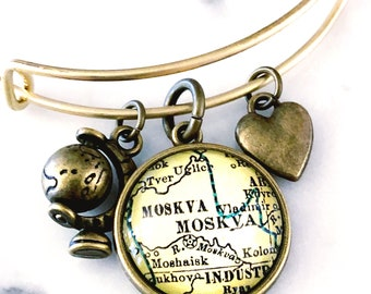 Moscow Map Charm Bracelet - Moscow Charm Bracelet - Moscow Bracelet - Travel Bracelet - Wanderlust Bracelet - Gift for Traveler