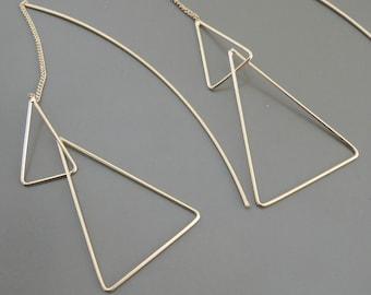 Gold Earrings - Threader Earrings - Statement Earrings - Triangle Earrings - Line Earrings - Long Earrings