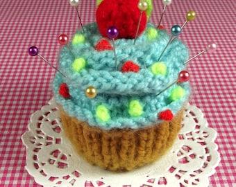KNITTING PATTERN CUPCAKE Pincushion Knit crochet dessert Amigurumi Food - Blue Frosting Cupcake - Pincushion pdf Pattern Instant Download