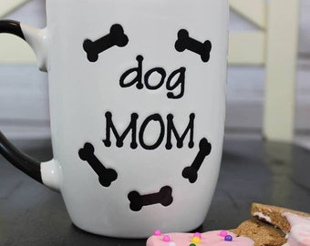 "Personalized stoneware mug coffee cup ""Dog Mom"" ""Dog Dad""  5"" high / 24oz."