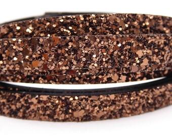 20 cm Strip flat 10mm copper bronze glitter