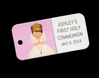 First Communion Favor Tags - Personalized - Girl - Gift Tags - Personalized Favor Tags - Girls Communion Tags - Pink