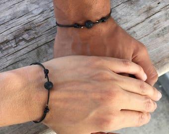 Matching Bracelets Couples Jewelry Simple Bracelet Oil Diffuser jewelry Guy Lava Rock Bracelet For mens Surfer Bracelet Black Cord for guy