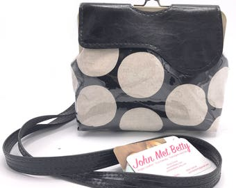 Cross body Bag, Vegan Bag, Leather Bag, Vegan Leather, shoulder bag, hip bag, black, dots, bag, purse, clutch, vegan purse, black and white