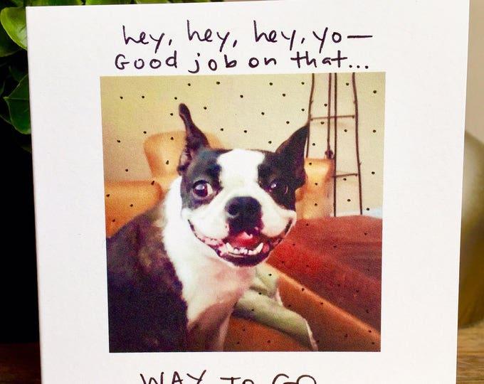 Good job card, boston terrier card, way to go card, dog way to go card, good job from the dog, congrats card, hey good job