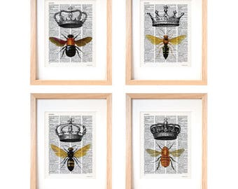 Bee print-bee set of 4 prints-Bee with crown dictionary print-bee wall art-bee on book page-crown print-dictionary print-insect-art-DP225