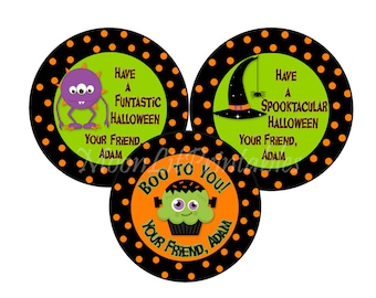 24 Halloween Stickers Personalized, Monster Stickers, Goody Bag Stickers,  Frankenstein Favors, Trick