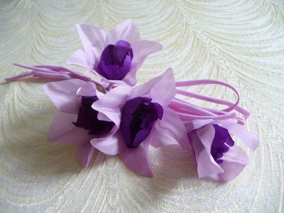 Silk millinery flowers spray of 4 lavender purple on silk like this item mightylinksfo