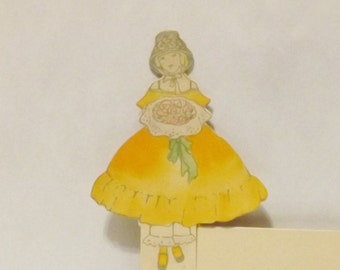 Vintage 1920s place card flower girl in yellow dress with bouquet of flowers hand painted watercolor unused ephemera