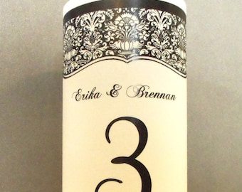 Damask Luminaries Centerpiece - 8.5 inch - Table Number Wedding Reception, Classic Black - Personalized