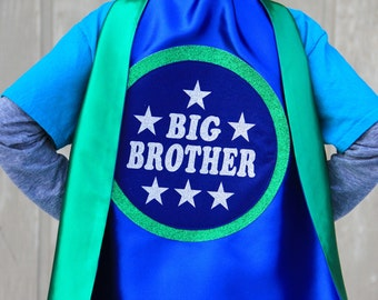 Big Brother Superhero Cape - Blue and Green - 4 combinations - NEW - SHIPS FAST - Sibling gift - big brother gift - new baby - Easter Ready