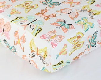 Winged Butterflies Bright Pastel | Fitted Crib Sheet